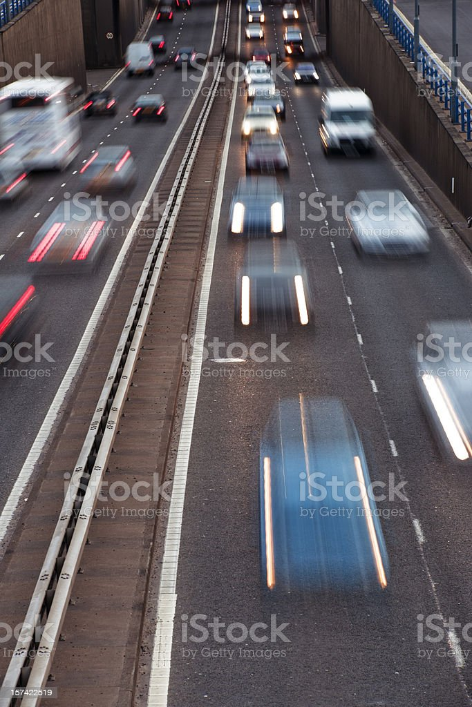 Rush hour urban motorway A38 M in Birmingham royalty-free stock photo