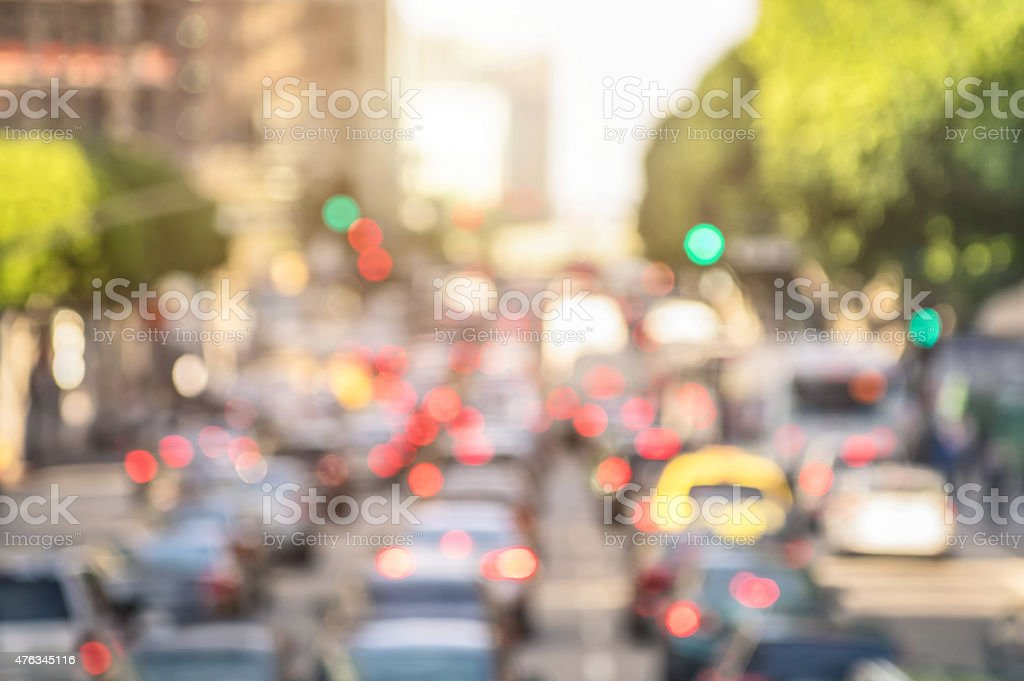 Rush hour with defocused cars stuck in and traffic jam stock photo