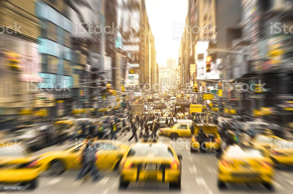 Rush hour with yellow taxi cabs in New York City stock photo