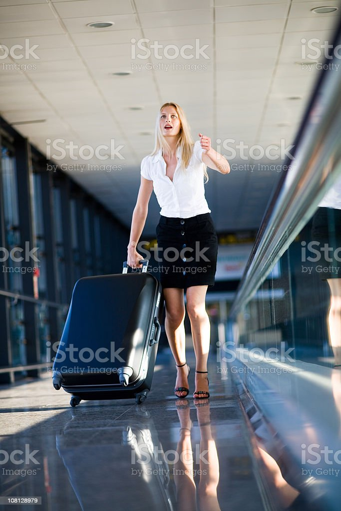 Rush to get the plane stock photo