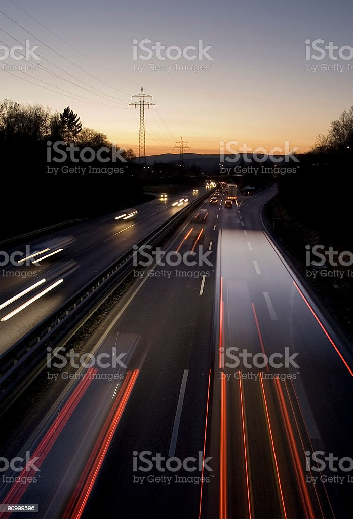 rush-hour traffic on highway royalty-free stock photo