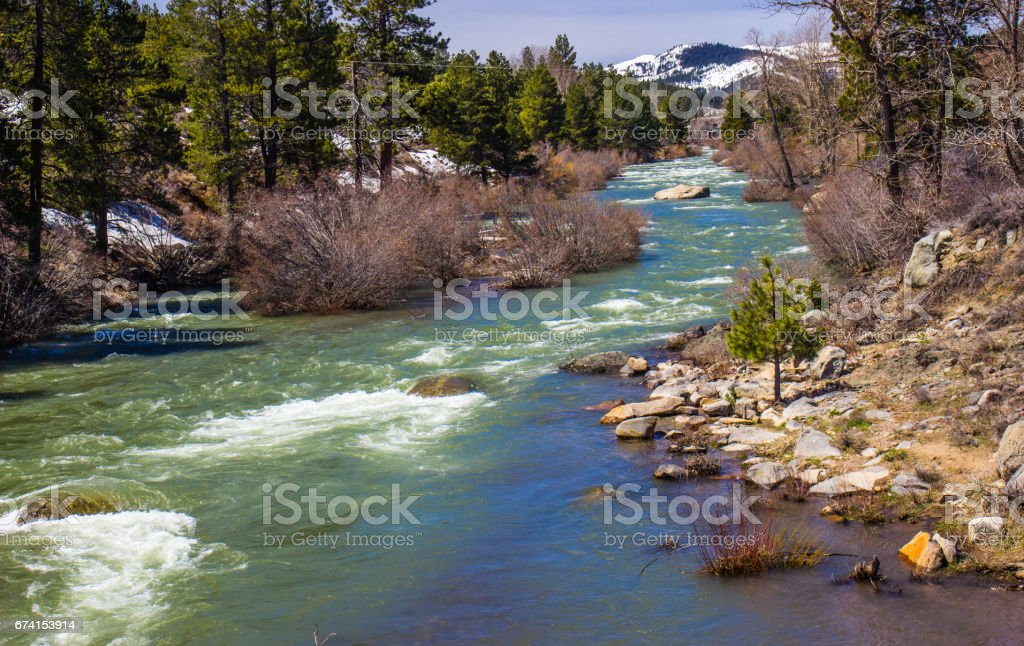 Rushing River In Springtime stock photo