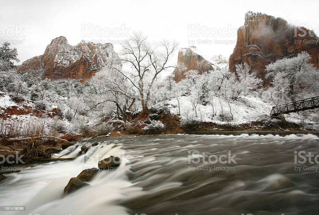 Rushing River in Winter Zion National Park stock photo