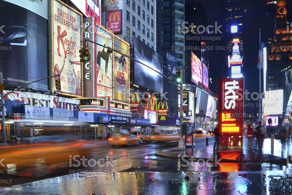 rushing taxis at times square royalty-free stock photo