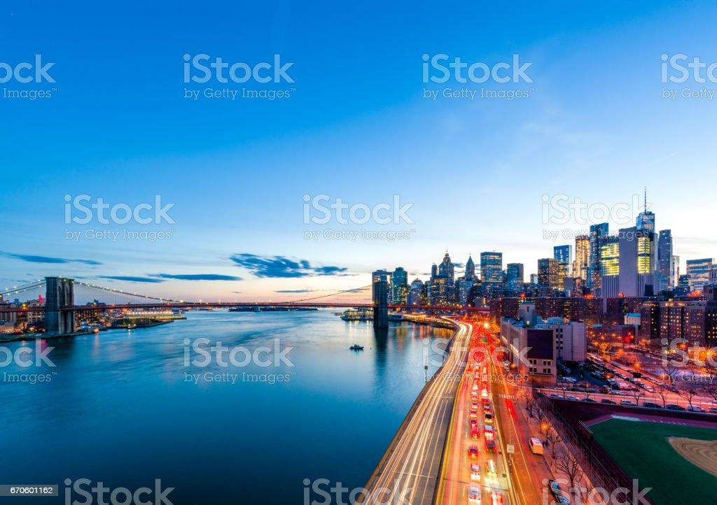 Rushing to the lower Manhattan stock photo