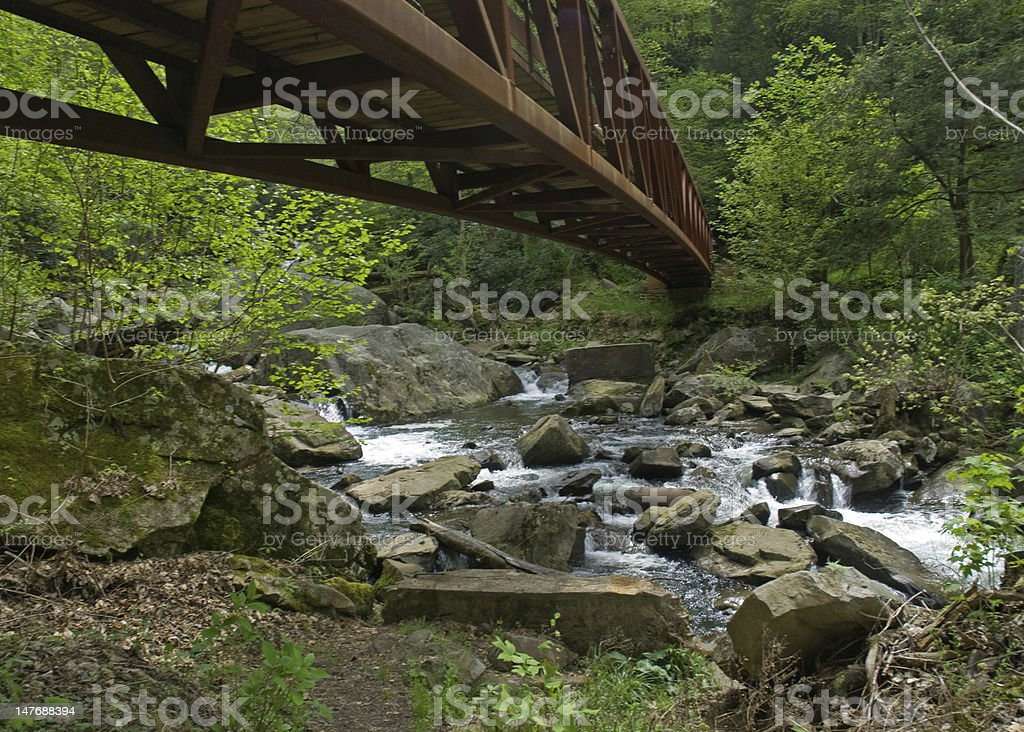 Rushing Water Under a Bridge royalty-free stock photo