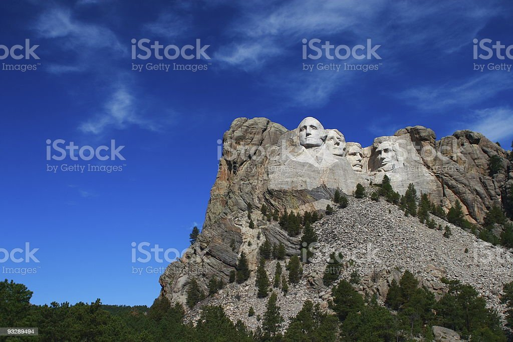 Rushmore mountain on a clear day stock photo