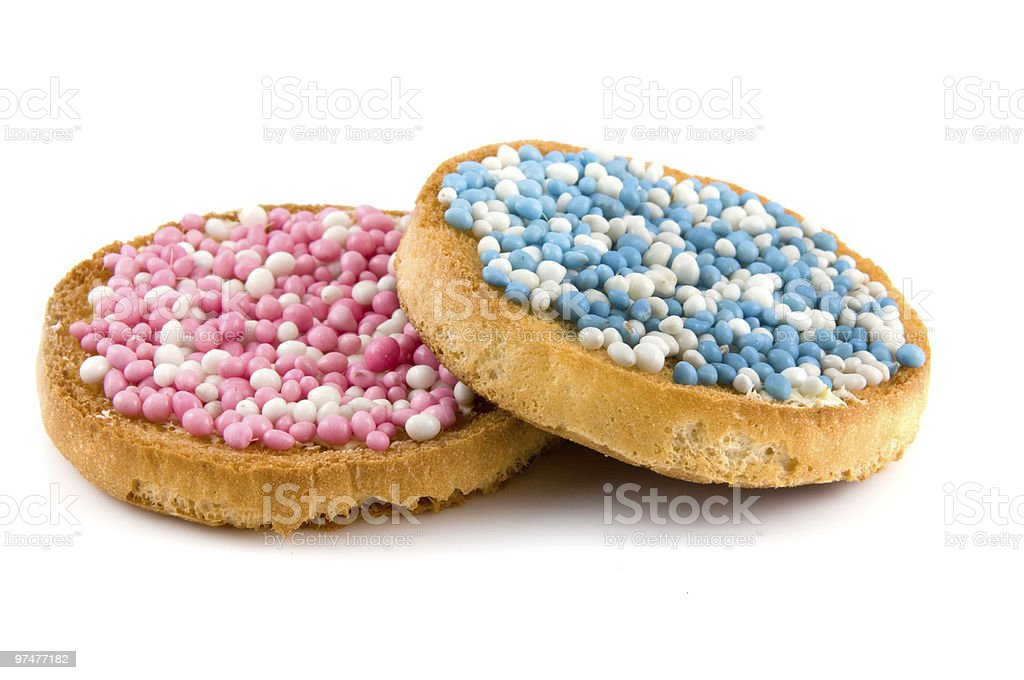 Rusk with blue and pink mice royalty-free stock photo