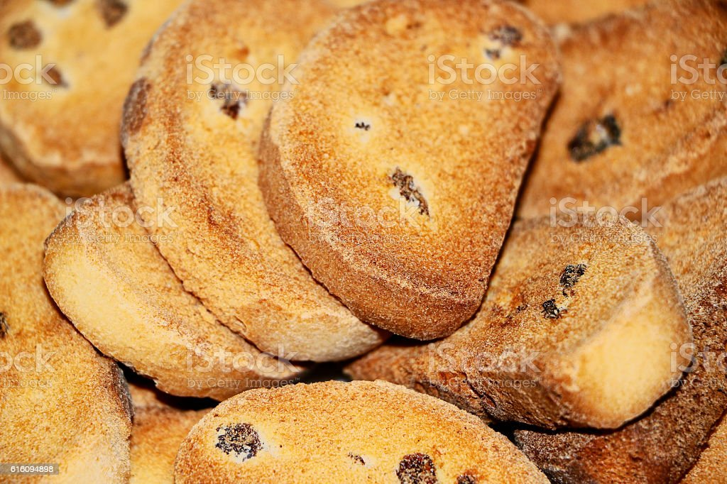 Rusk with raisins. Close-up. stock photo