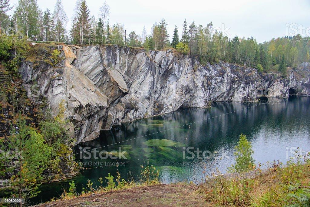 Ruskeala marble quarry, Karelia, Russia stock photo