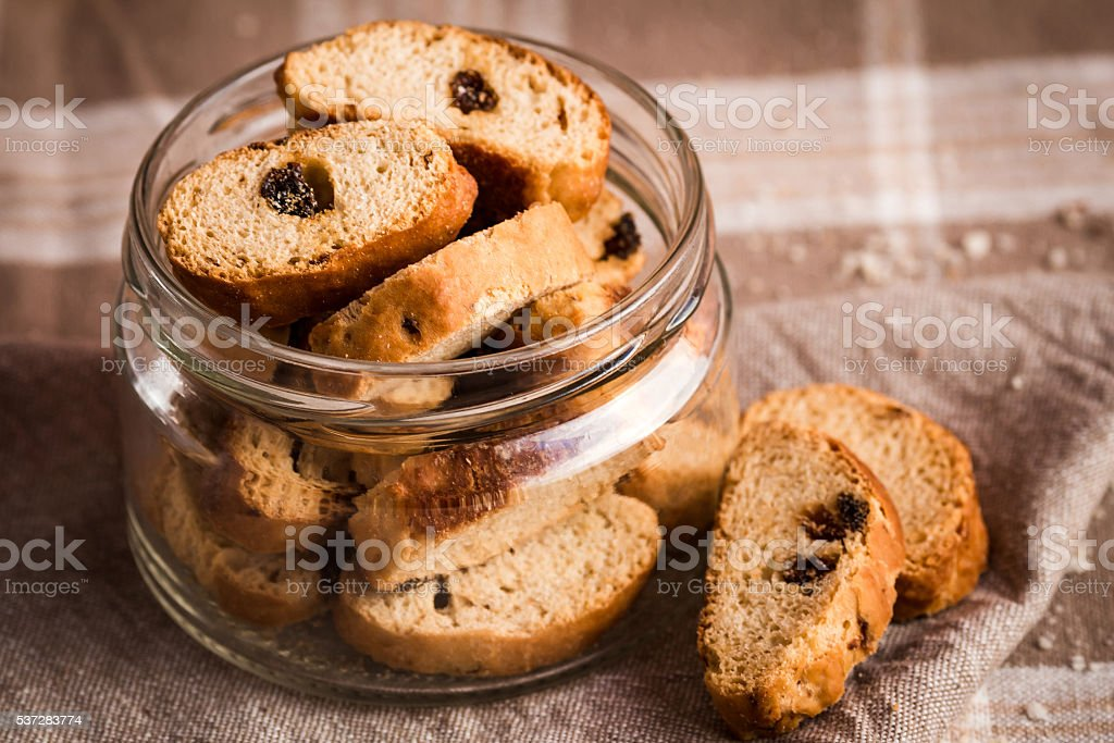 rusks with raisins in jar stock photo