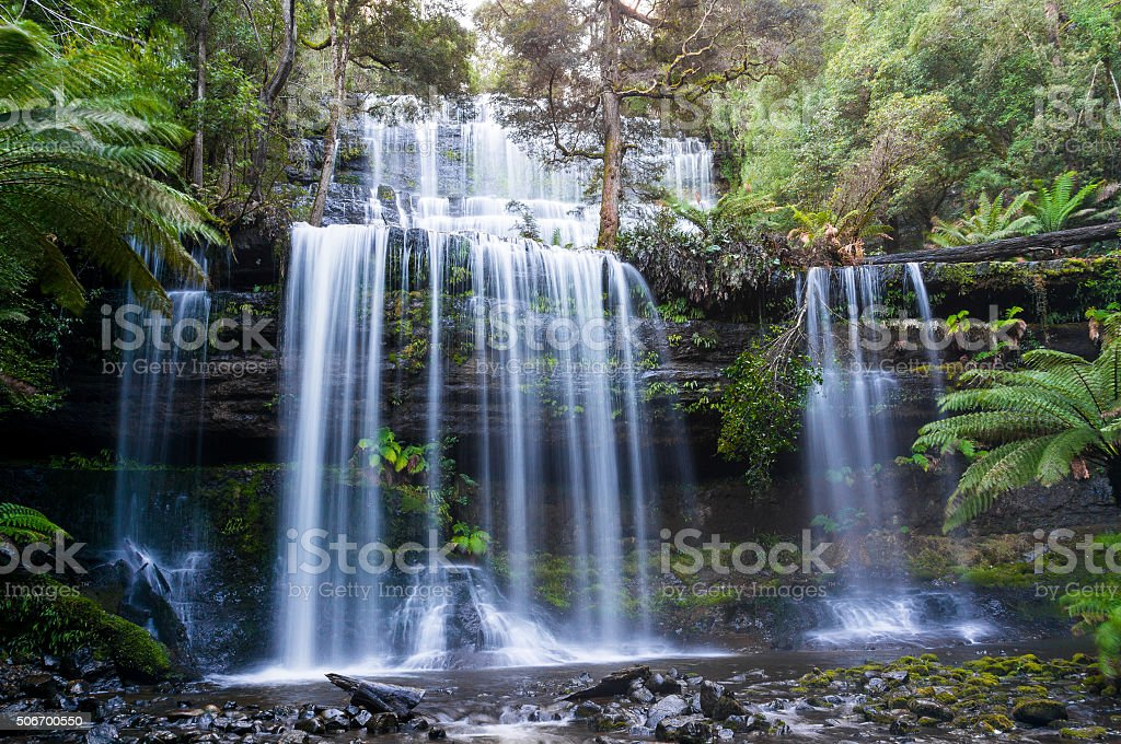 Russell Falls in Mount Field National Park, Tasmania stock photo