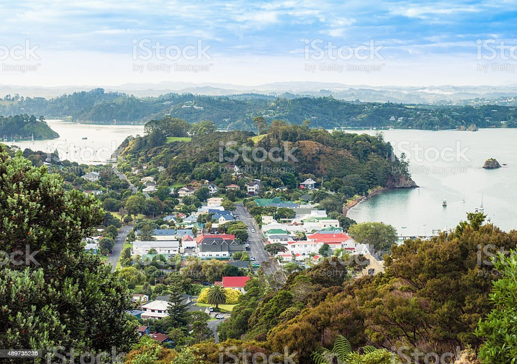Russell in New Zealand's Bay of Islands stock photo