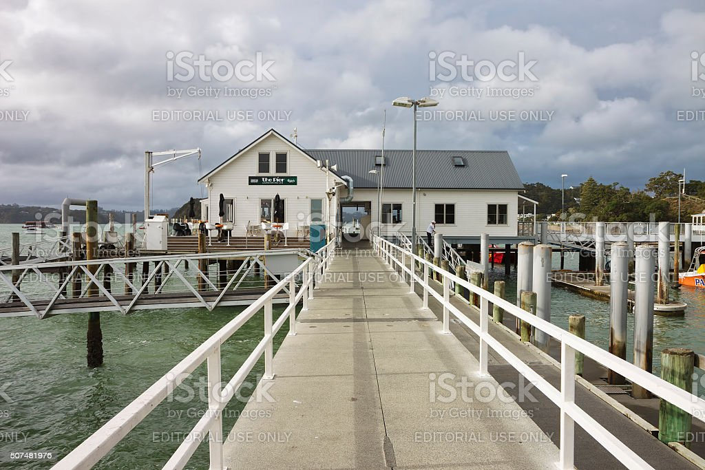 Russell Pier, Bay of Islands, New Zealand stock photo