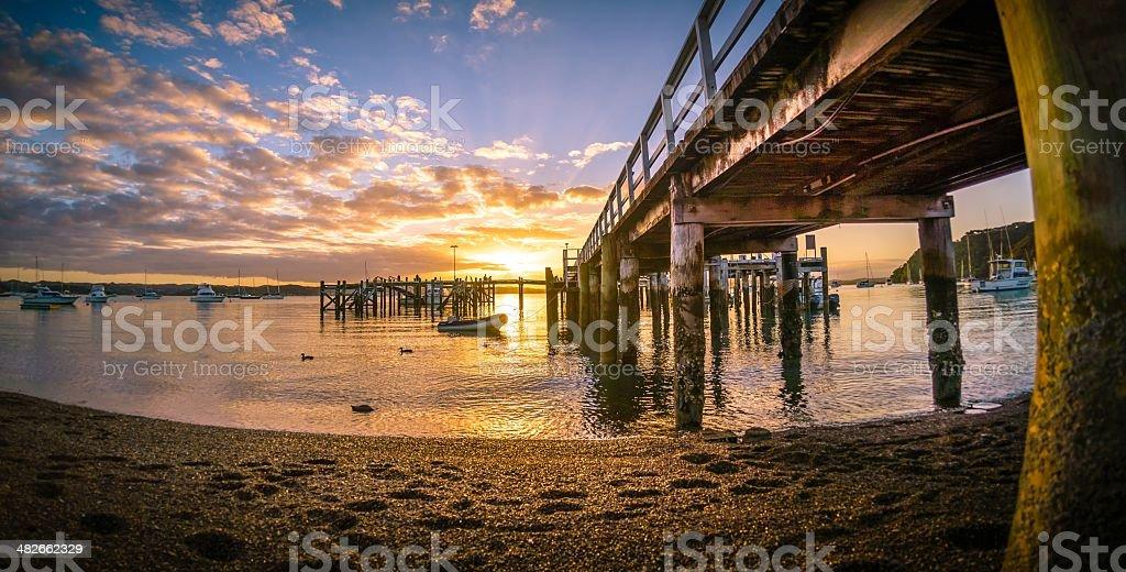 Russell Wharf Sunset stock photo