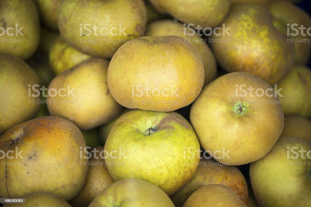 Russet apples in street market royalty-free stock photo