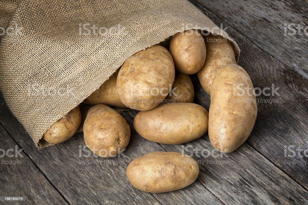Russet Potatoes Spilling From Burlap Bag stock photo