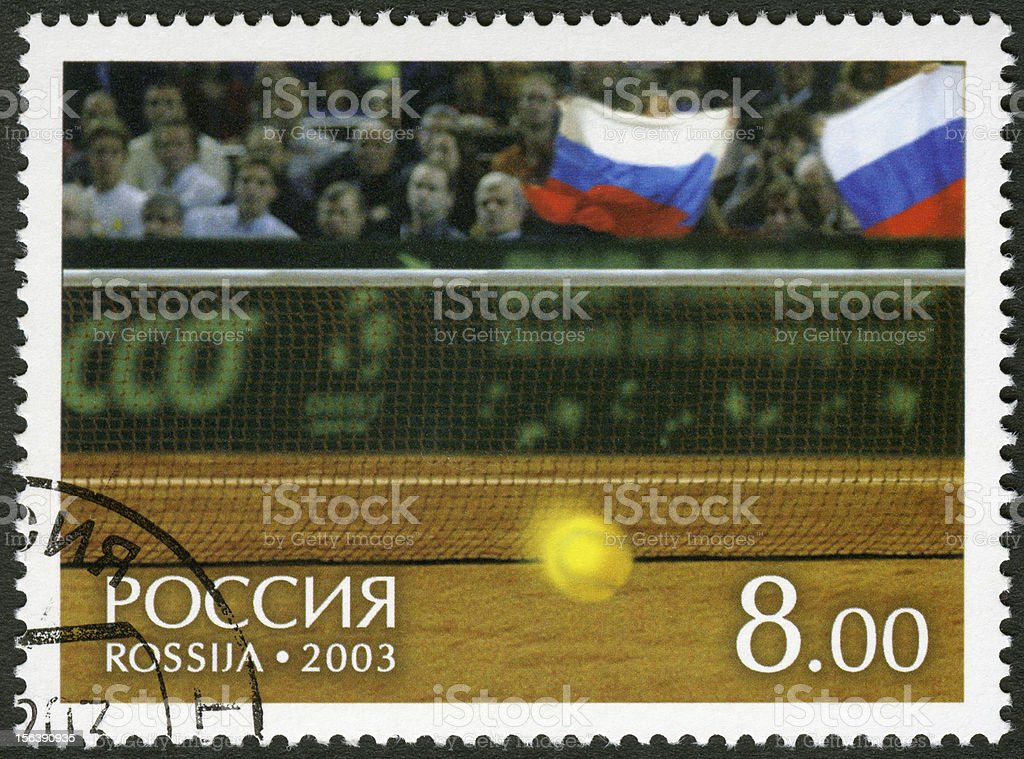 Russia 2003 Tennis ball and fans tribunes Davis Cup 2002 royalty-free stock photo