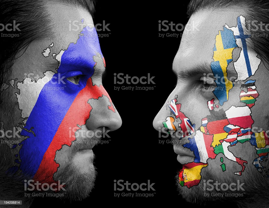 Russia Against Europe. stock photo