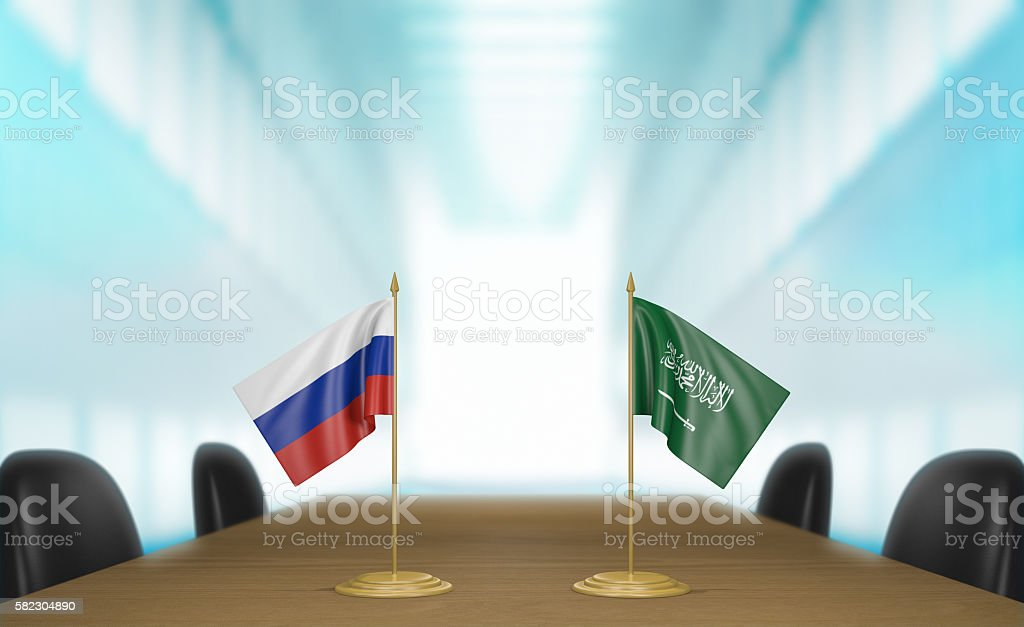 Russia and Saudi Arabia relations and trade deal talks stock photo