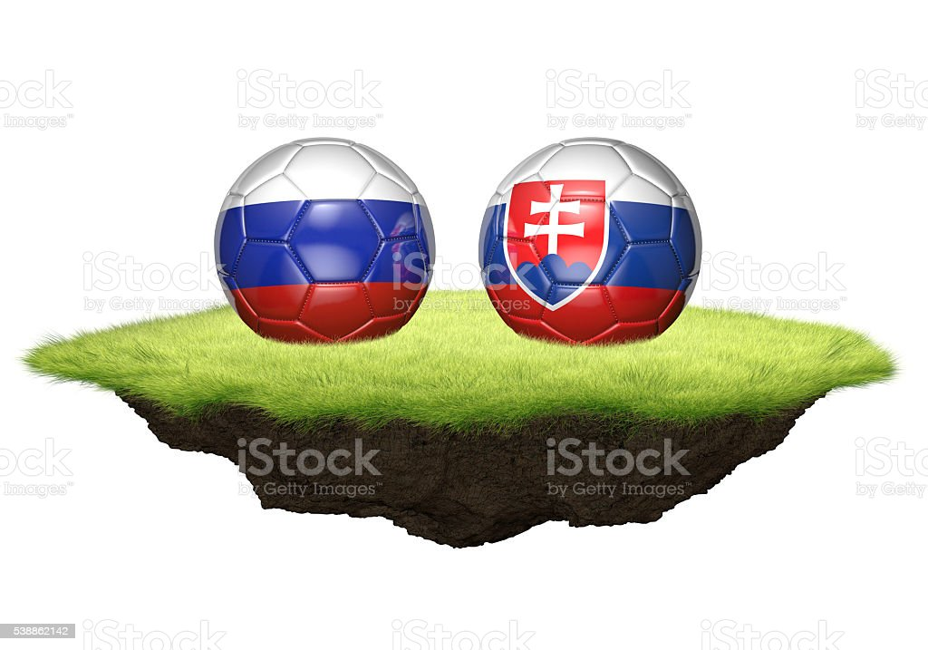 Russia and Slovakia team balls for football championship tournament stock photo
