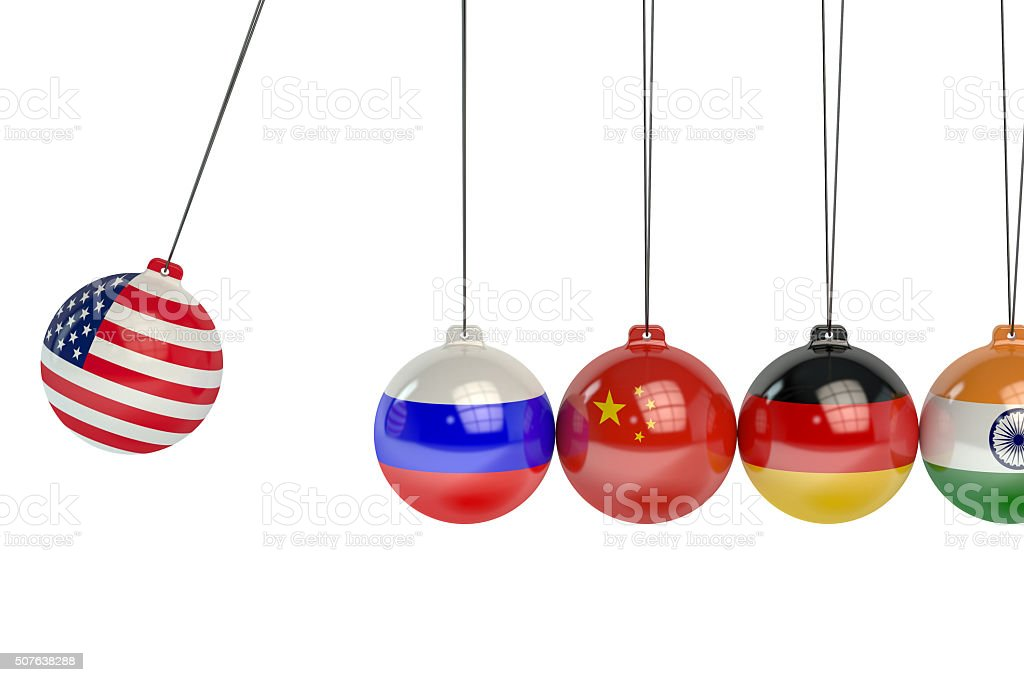 USA, Russia, China, Germany and India political conflict concept stock photo