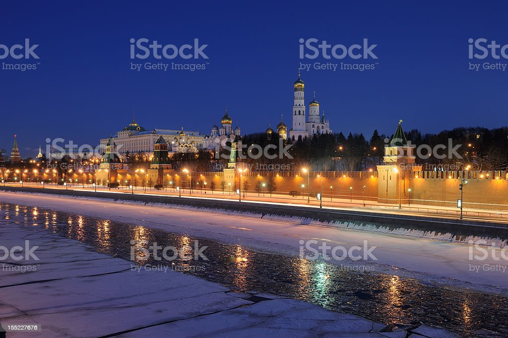 Russia. Ensemble of Moscow Kremlin at a winter night royalty-free stock photo