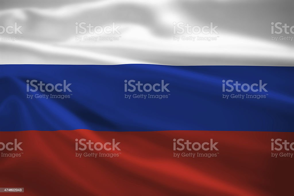 Russia flag blowing in the wind stock photo
