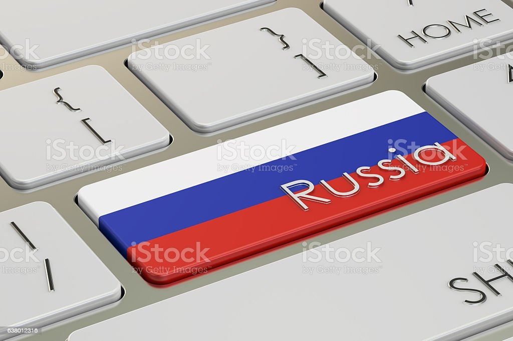 Russia flag button on keyboard, 3D rendering stock photo
