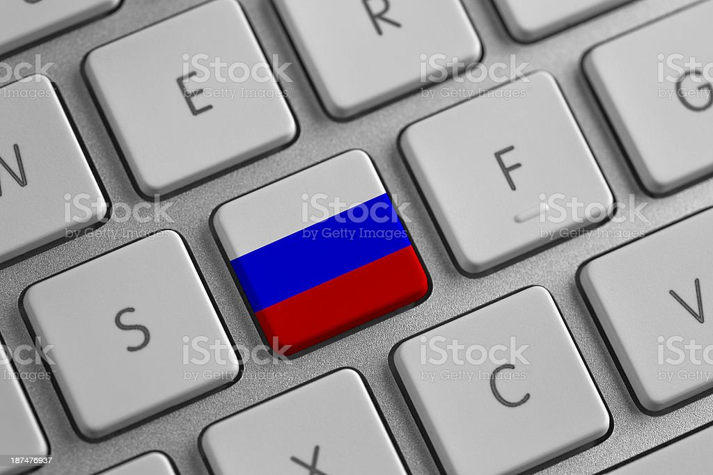 Russia flag on a laptop stock photo