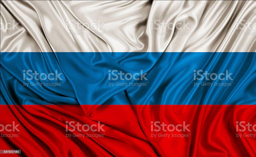 Russia flag - silk texture stock photo