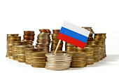 Russia flag waving with stack of money coins