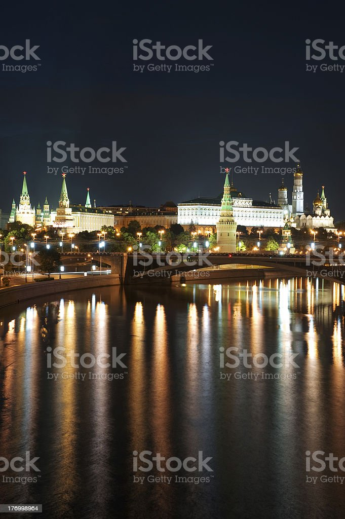 Russia Kremlin and river in Moscow royalty-free stock photo