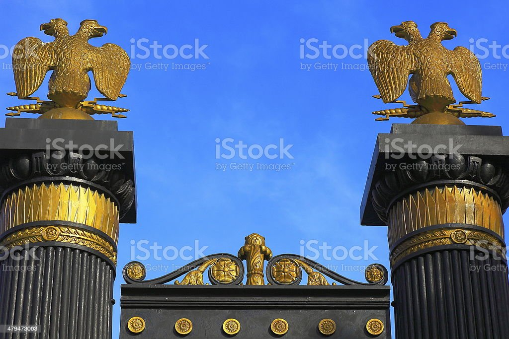 Russia National Emblem coat of arms - Kremlin gate, Moscow stock photo
