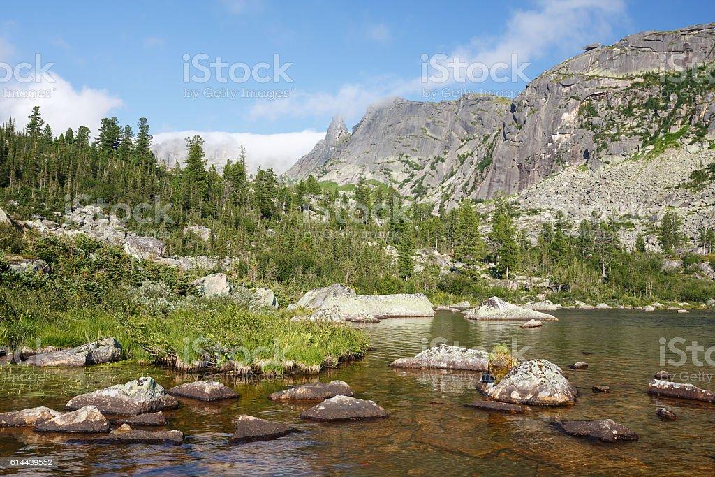Russia. Natural park Ergaky. View of the lake Raduzhnoe. stock photo