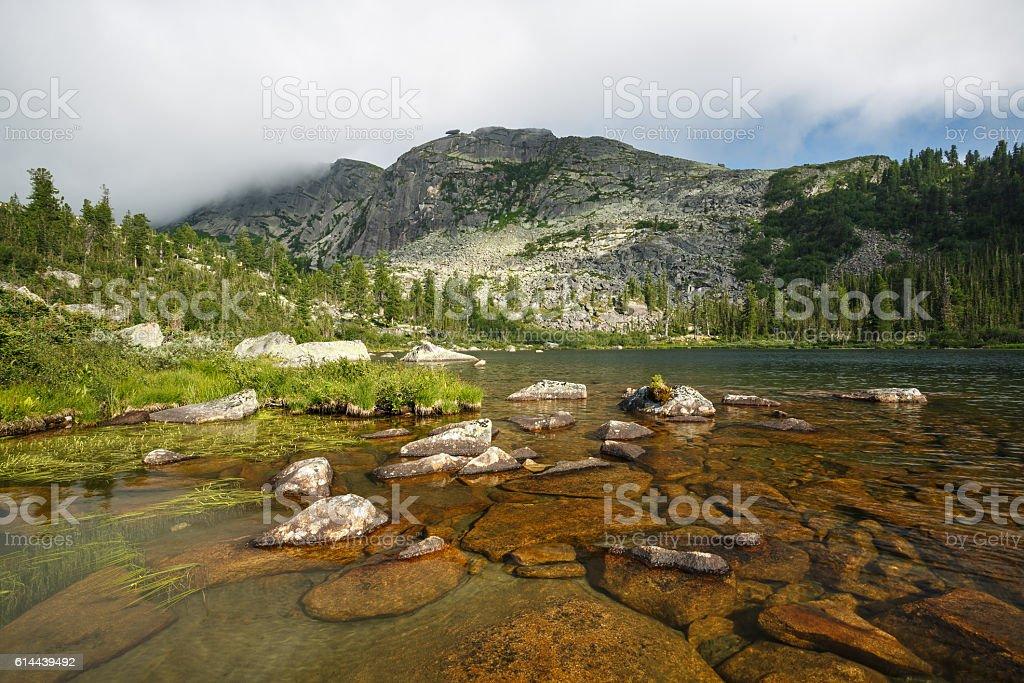 Russia. Natural park of Ergaky. Lake Raduzhnoe. stock photo