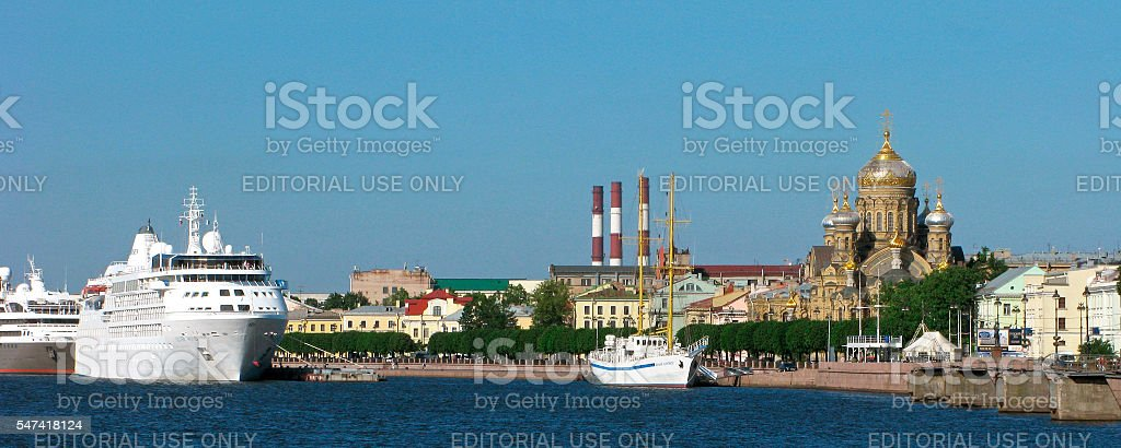 Russia. Panorama of Vasilievsky Island in Saint Petersburg. stock photo