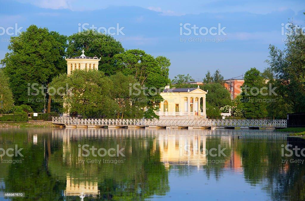 Russia, Peterhof.Pavilion on  island in Olga's pond. stock photo