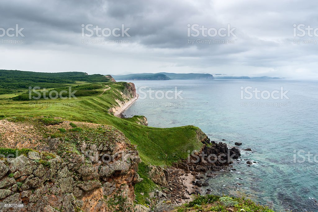 Russia Primorsky Krai coast of the Sea of Japan. stock photo
