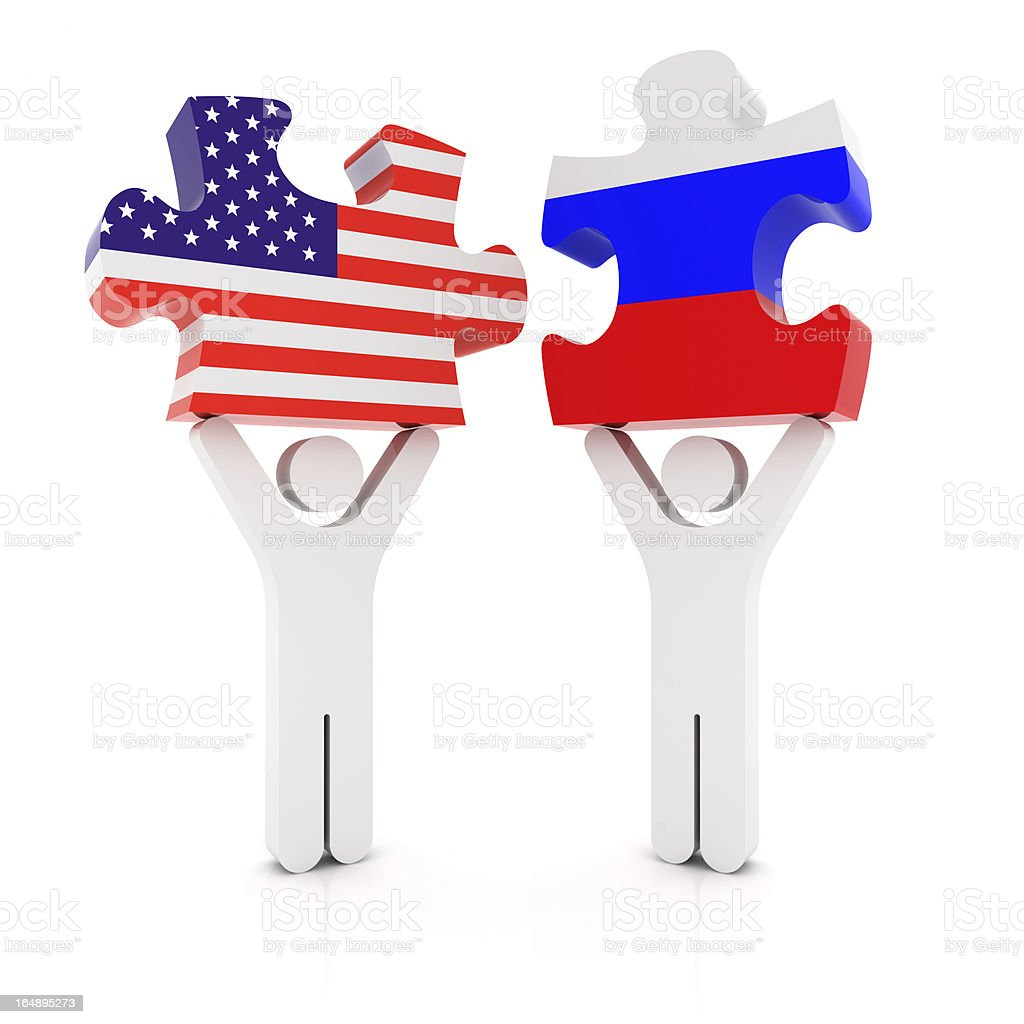 USA Russia Puzzle Concept royalty-free stock photo
