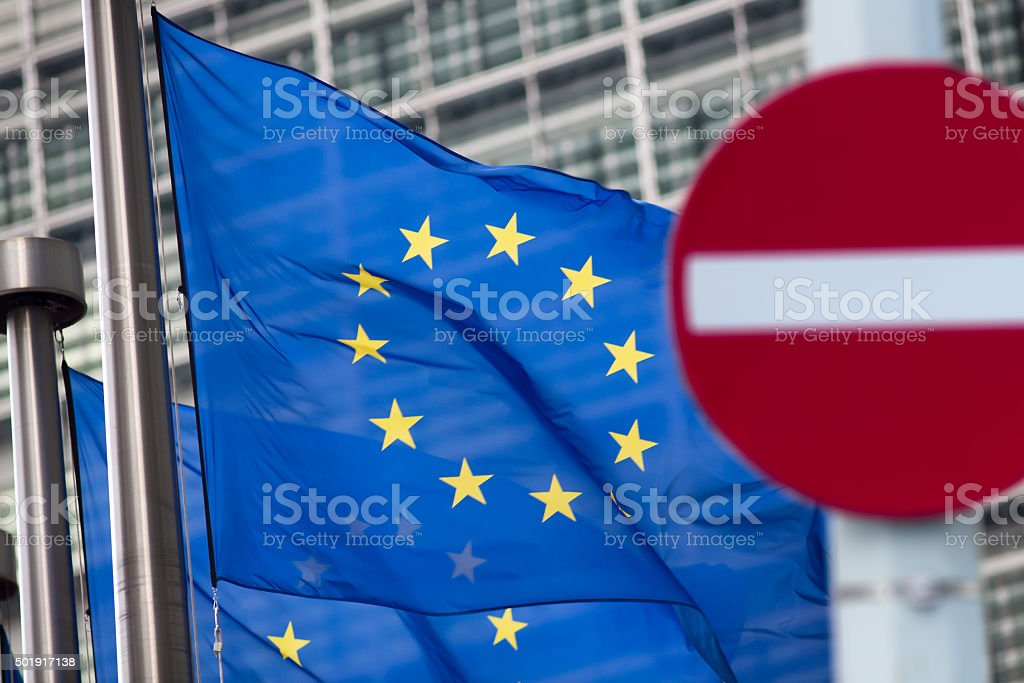 Russia sanctions. 'No entry' sign in front of European comission stock photo