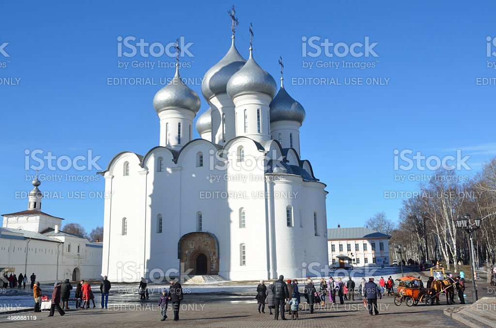 Russia Scene: People walking near  Sophiysky cathedral in Vologda stock photo