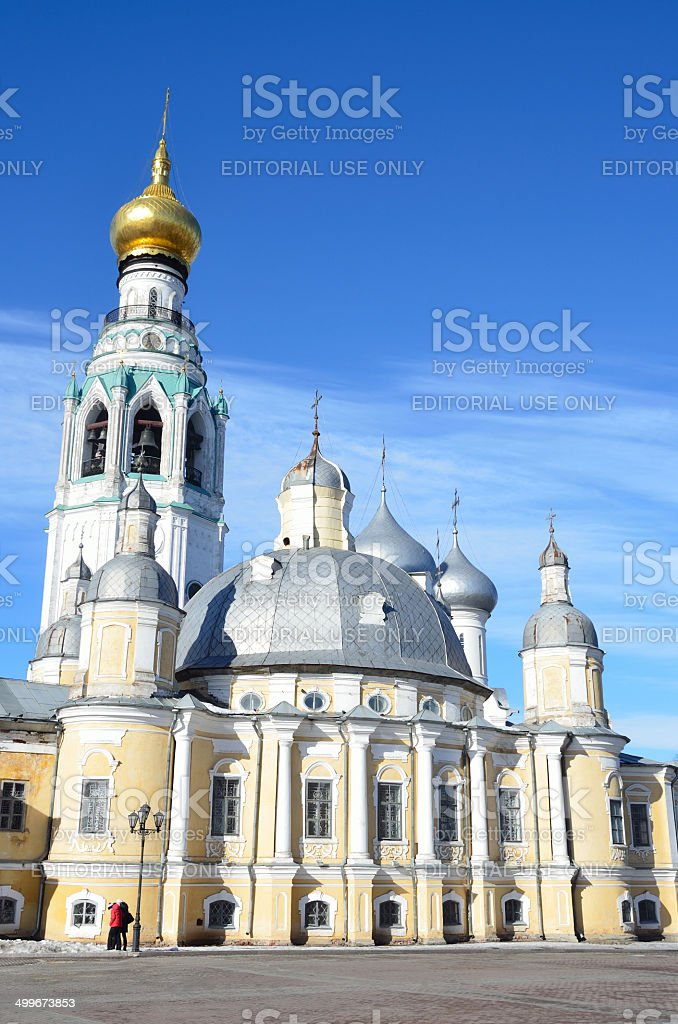 Russia Scene: People walking near Voskresensky cathedral in Vologda stock photo
