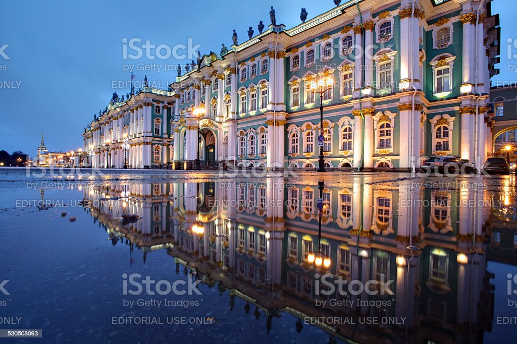 Russia, St. Petersburg, Hermitage buildings reflected in water, evening. stock photo