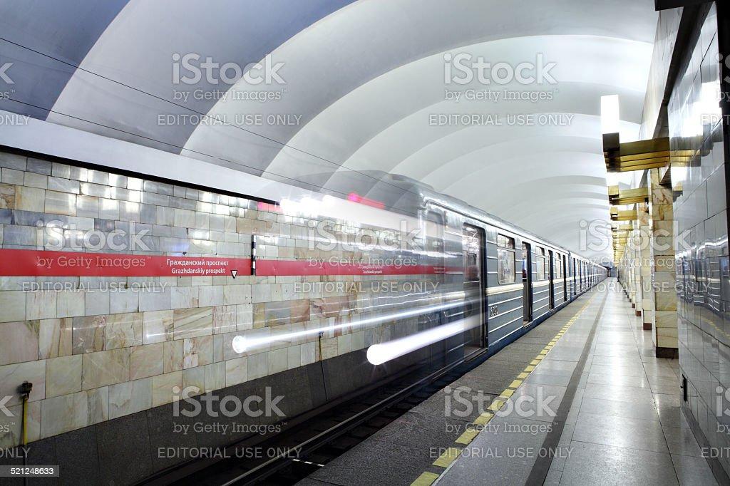 Russia, St. Petersburg, metro station train departs from subway platform. stock photo