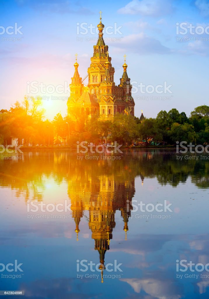 Russia, suburb of Saint Petersburg, the St. Peter and Paul Cathedral stock photo