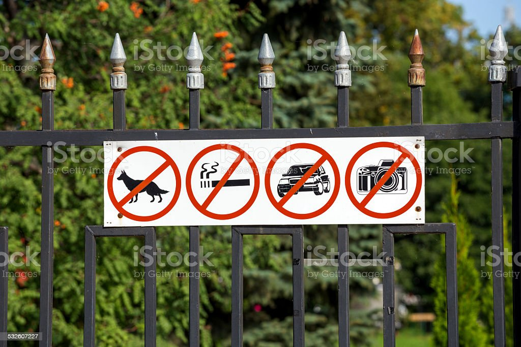Russia. Tambov. Prohibiting signs on the fence Kazan Monastery stock photo