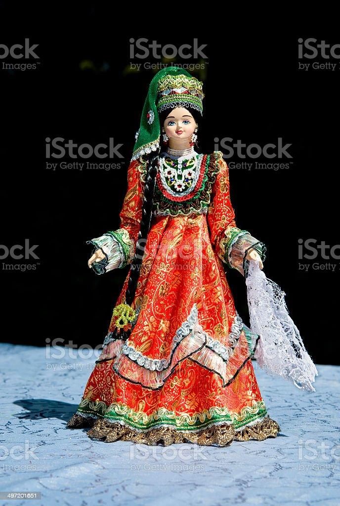 Russia, Tatarstan. Female national festive Tatar suit. stock photo