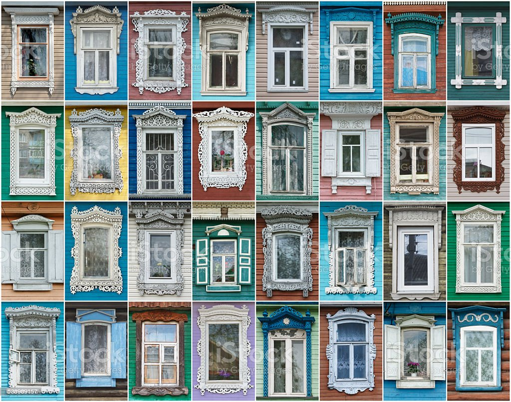 Russia. The windows of the city Gorodets stock photo