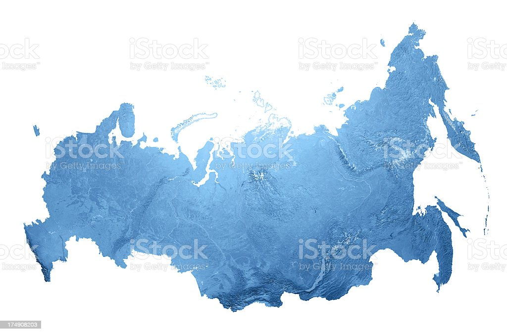 Russia Topographic Map Isolated stock photo